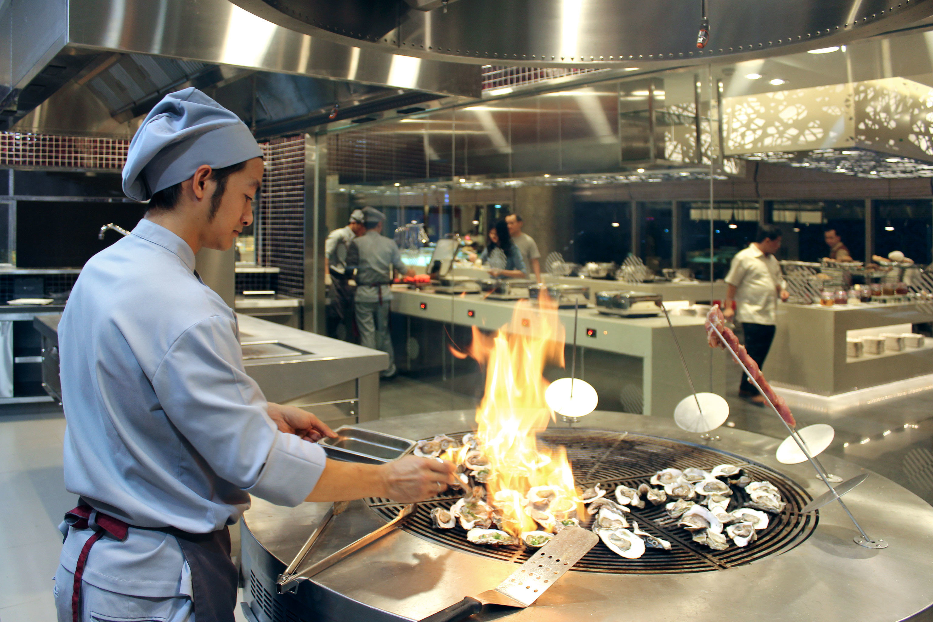 Dining Eat Entertainment Resort Kitchen preparing manufacturing cooking working restaurant machine factory grill