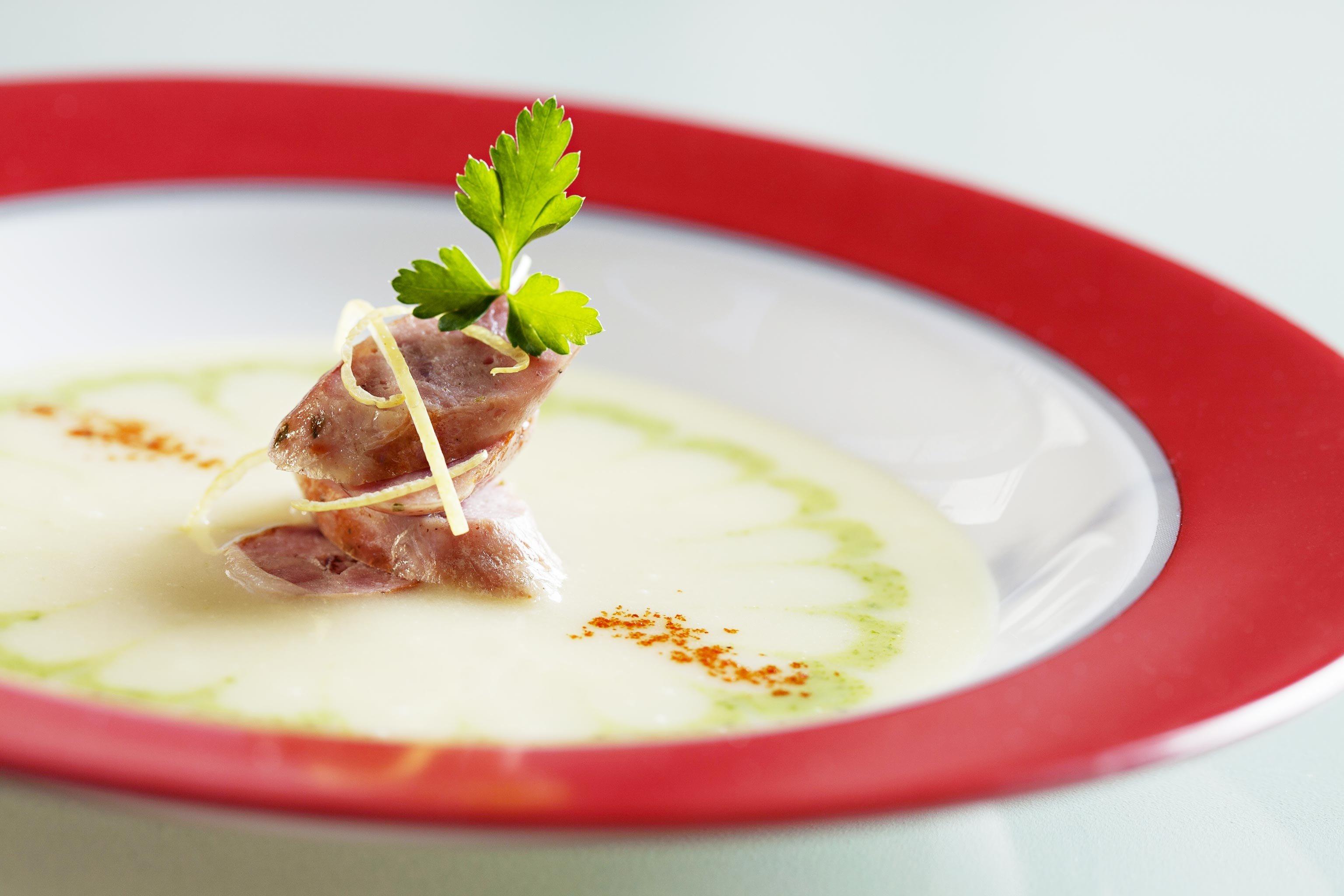Dining Eat Luxury plate food soup white cuisine meat vegetable piece de resistance