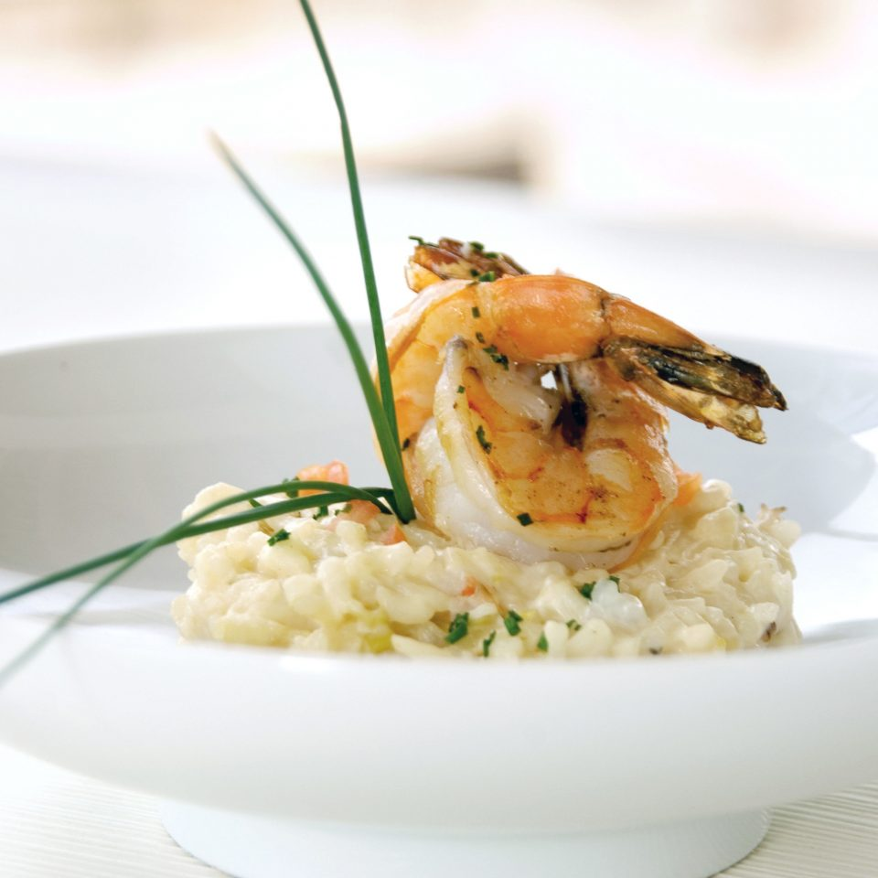 Dining Eat plate food white cuisine rice shrimp risotto Seafood fish scampi invertebrate dinner meat