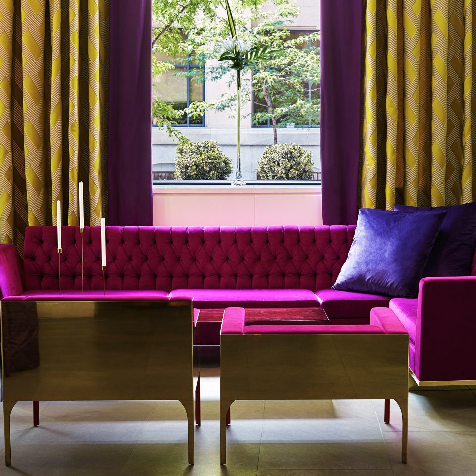 Elegant Historic Lounge Modern purple chair color curtain living room pink window treatment textile Dining