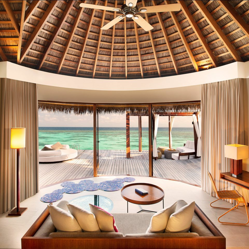 Elegant Lounge Luxury Ocean Overwater Bungalow chair property Resort swimming pool Dining living room condominium Villa Suite