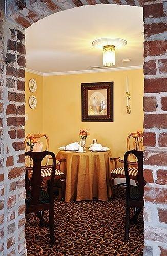 Dining Historic Inn restaurant living room home lighting cottage stone