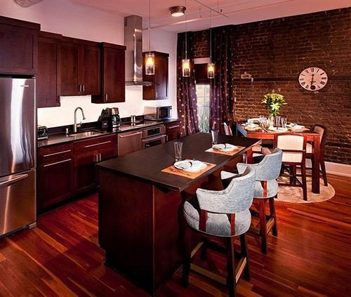 Kitchen property hardwood home wooden Dining wood flooring Suite cottage Island