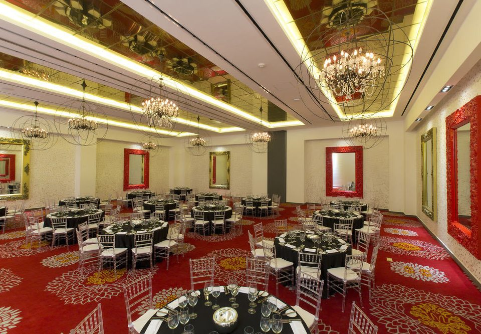 food function hall restaurant banquet red conference hall Lobby ballroom convention center auditorium palace Dining