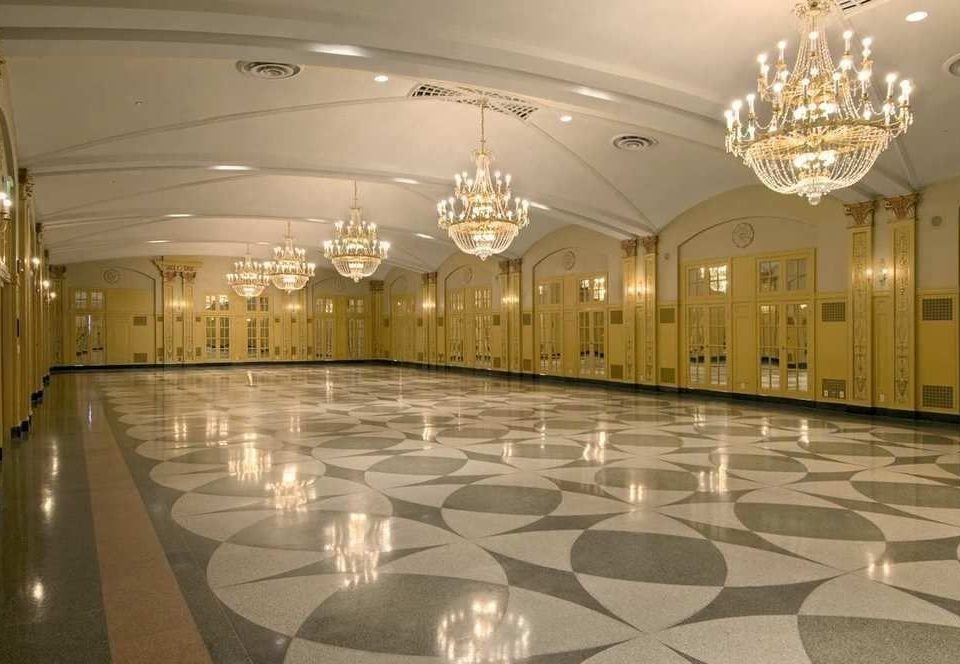 Lobby wine function hall ballroom glass auditorium lighting convention center palace flooring Dining empty hall