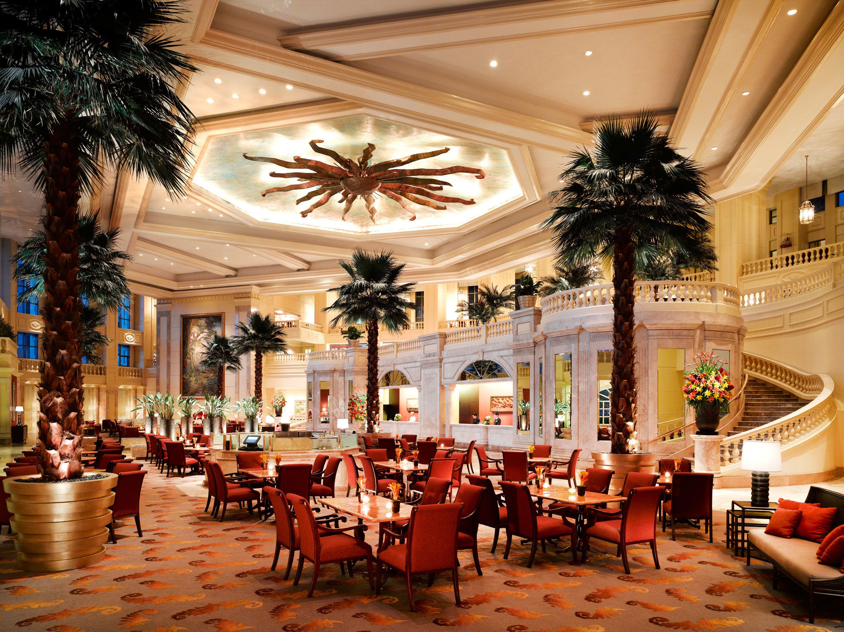 Lobby Lounge Luxury Resort chair function hall Dining palace ballroom restaurant convention center set surrounded