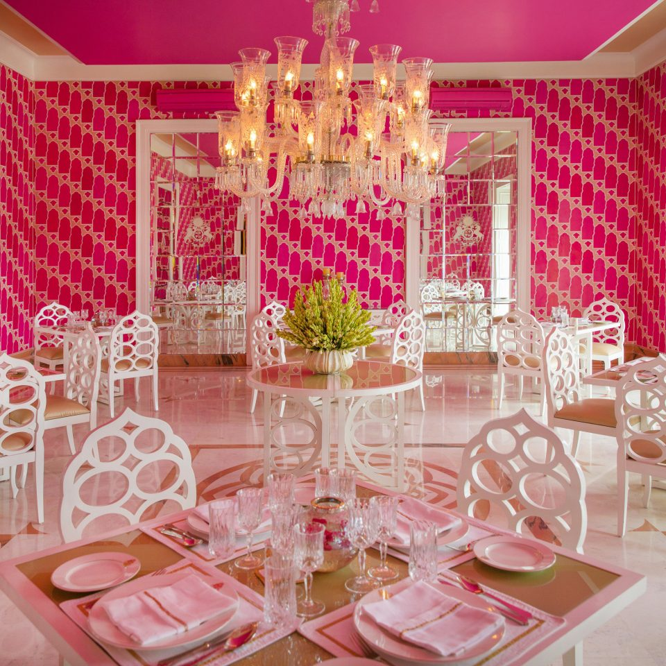 pink function hall centrepiece quinceañera Dining Party aisle banquet wedding reception ballroom dining table