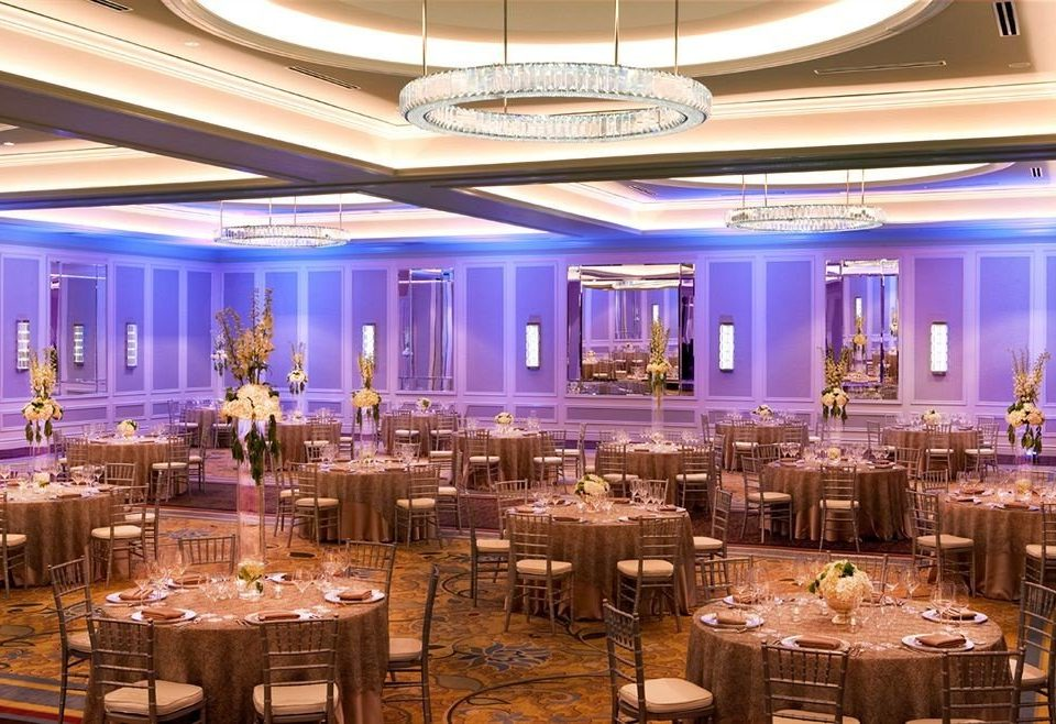 function hall banquet scene ballroom wedding reception convention center Party Dining restaurant purple set