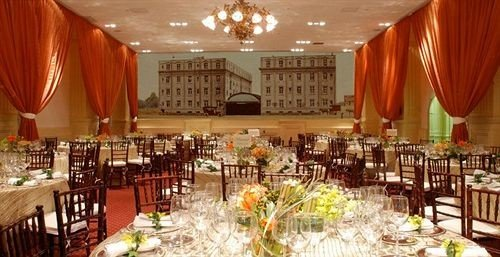 chair Dining function hall banquet wedding reception ceremony Party ballroom set restaurant dinner dining table