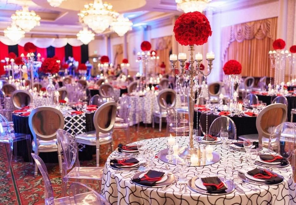 function hall banquet wedding reception Dining quinceañera centrepiece Party ceremony wedding ballroom dinner set dining table restaurant cluttered