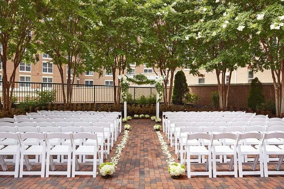 tree chair aisle man made object ceremony wedding banquet function hall wooden Dining Pool backyard lined set