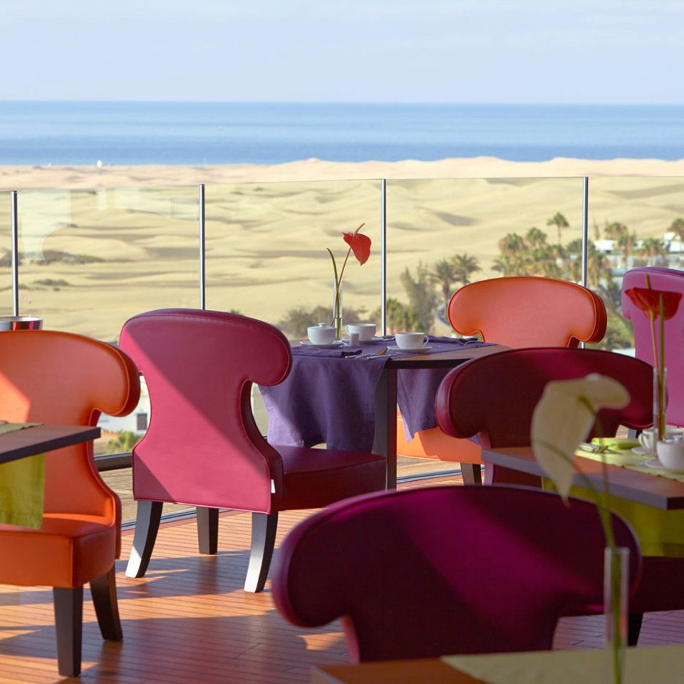 chair color leisure red Dining restaurant Resort set overlooking