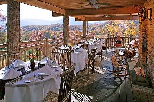 chair Dining restaurant Resort cottage porch overlooking dining table