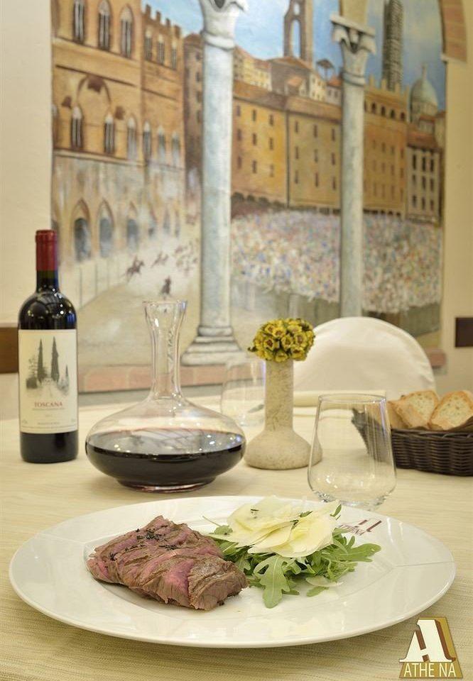 plate wine food restaurant dinner