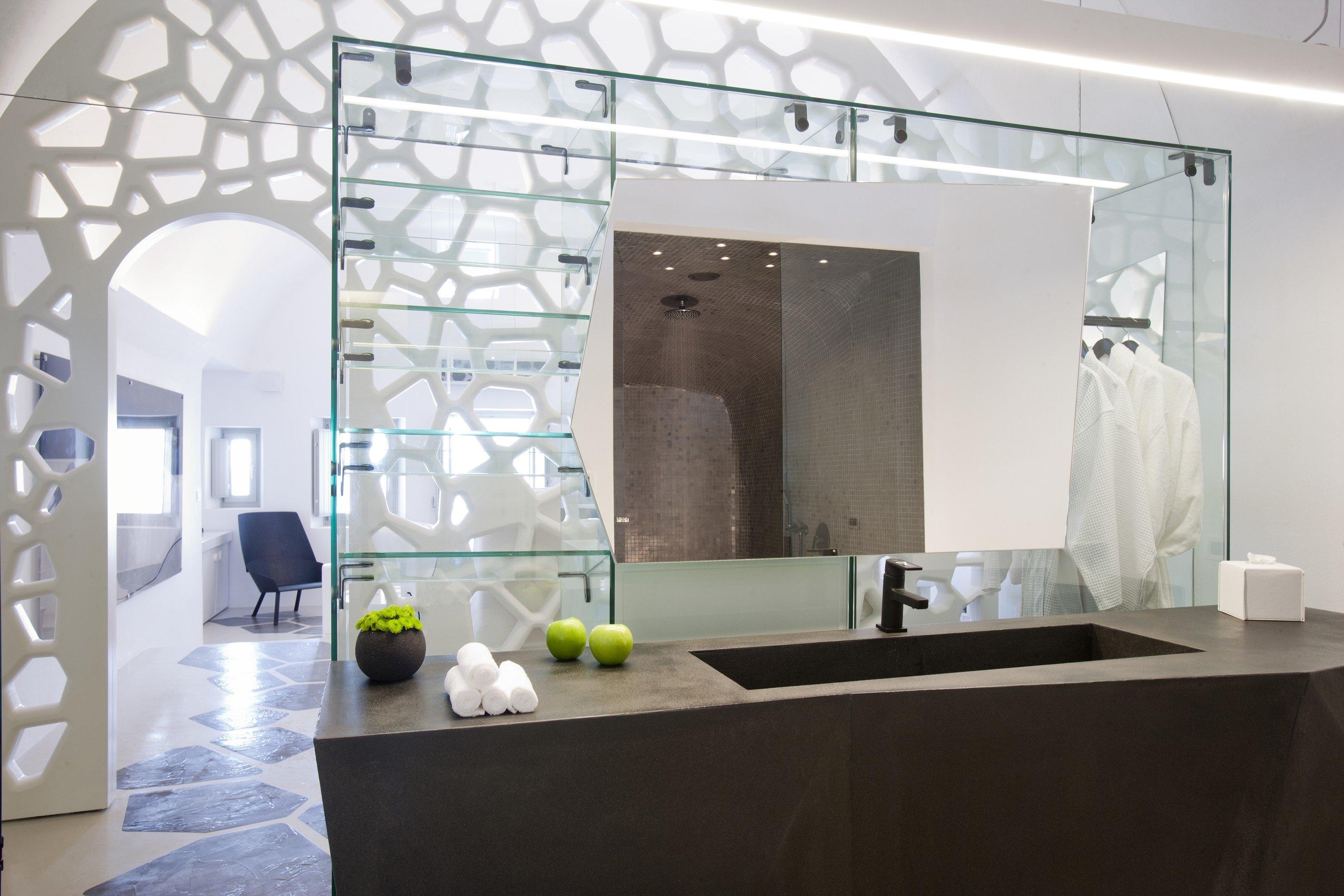 Greece Hotels Luxury Travel Santorini indoor interior design wall ceiling floor glass flooring interior designer loft table living room