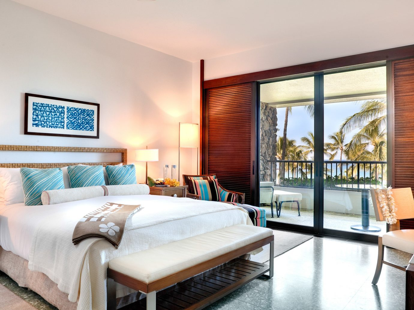Balcony Beach Bedroom Living Resort Scenic views indoor floor wall sofa room window bed property ceiling estate Suite real estate living room interior design home hardwood condominium Villa cottage furniture decorated