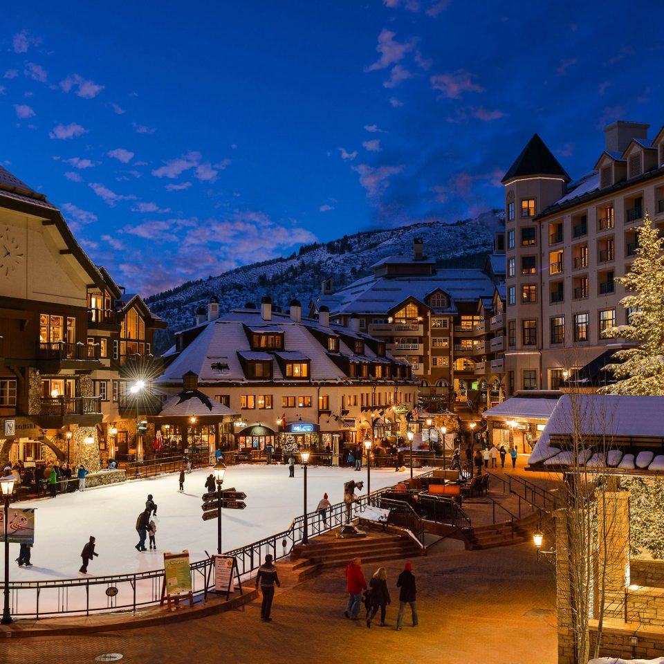 building Town night neighbourhood Winter evening season Resort snow residential area cityscape Downtown town square Village plaza