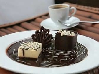 cup plate coffee chocolate food chocolate cake dessert breakfast Drink