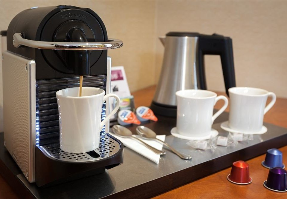 coffee cup Drink small appliance espresso counter breakfast cluttered
