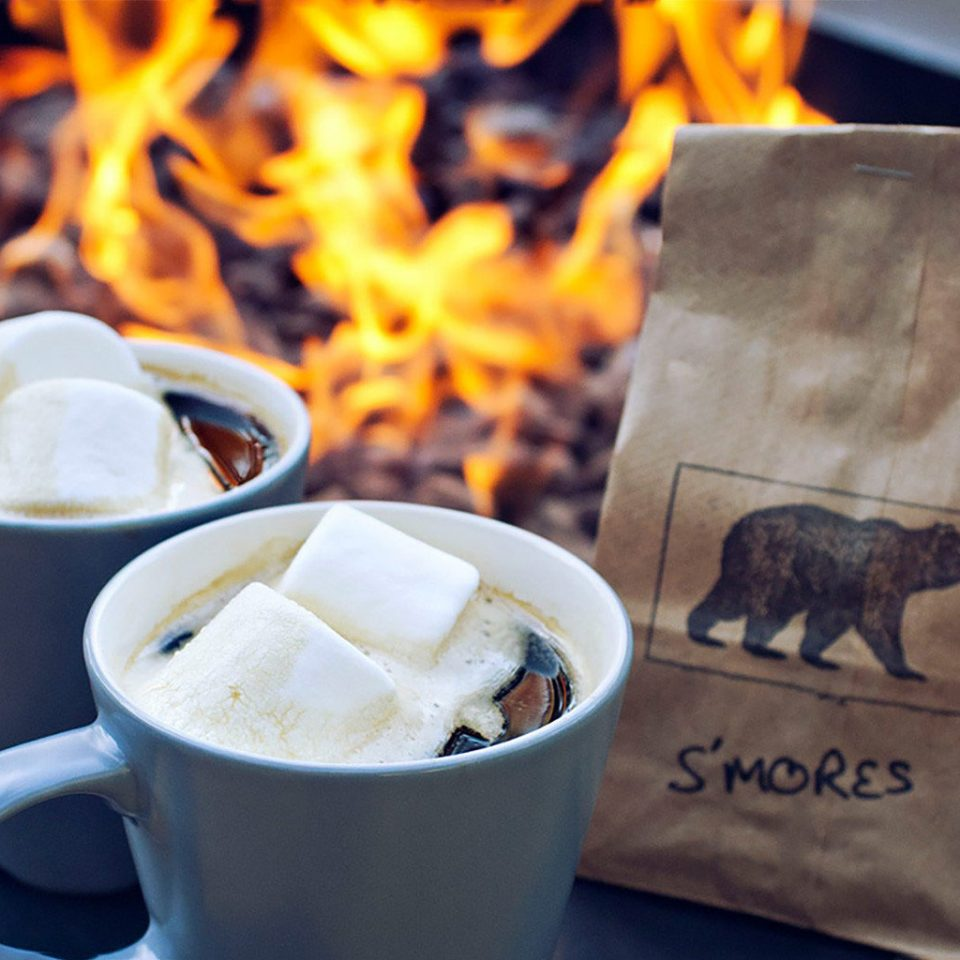 fire hot chocolate marshmellow mugs smores snacks warm cup coffee food Drink breakfast flavor