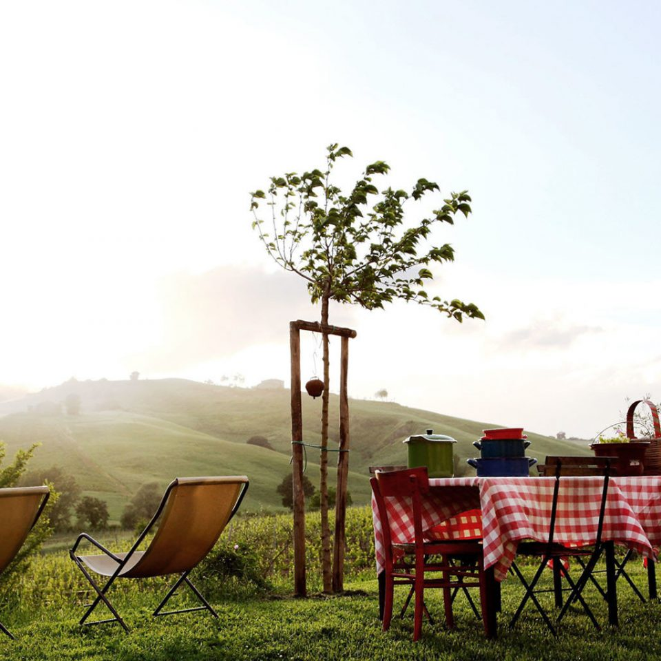 Drink Eat Mountains Scenic views sky chair agriculture grass field morning rural area Farm meadow flower seat set