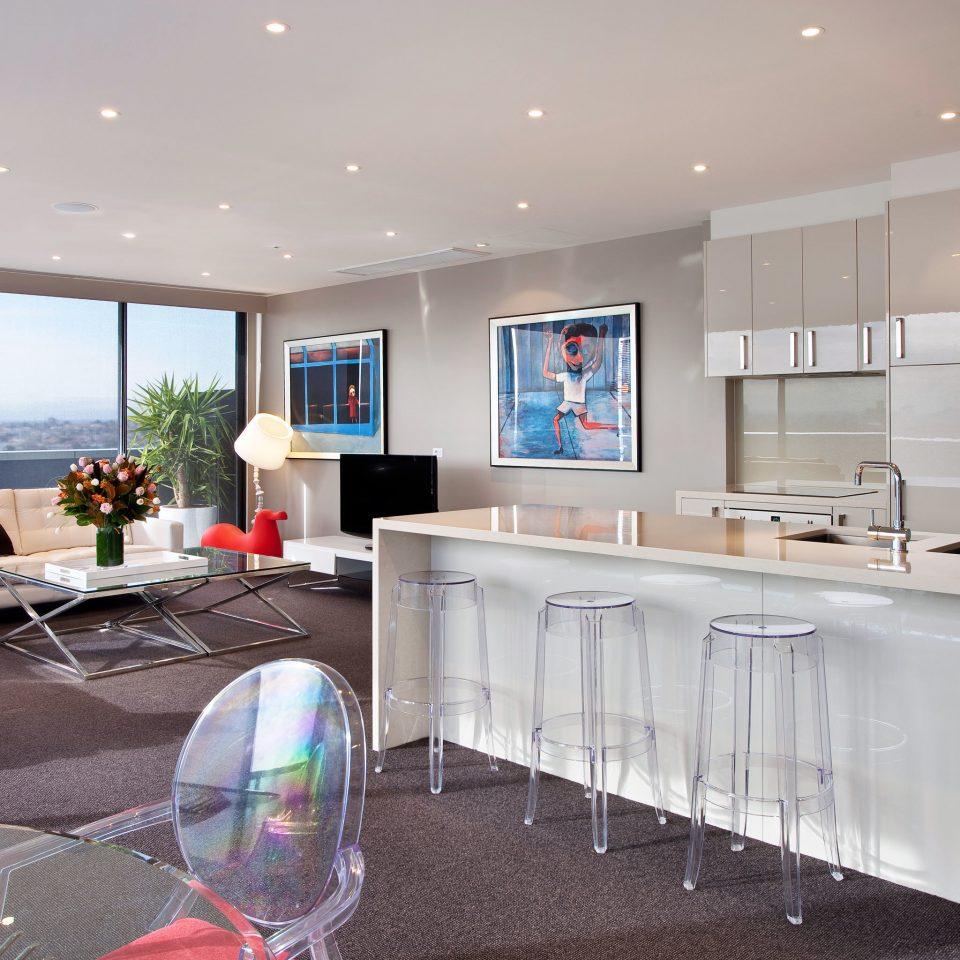 Drink Eat Hip Kitchen Modern property home living room condominium
