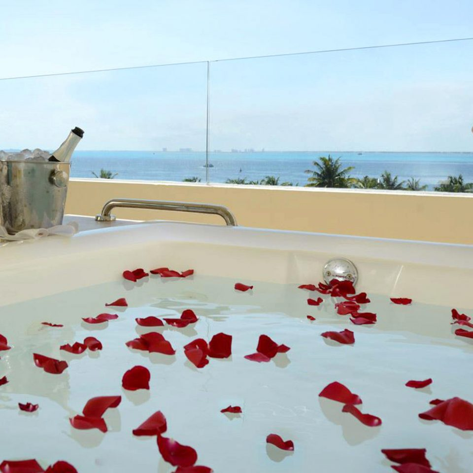 Drink Hot tub/Jacuzzi Modern Scenic views Waterfront sky red flooring bedclothes flower