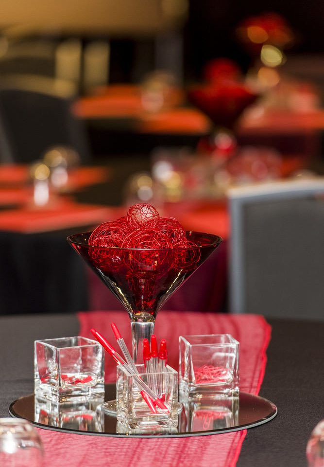 red centrepiece Drink cocktail Party wine restaurant set dining table