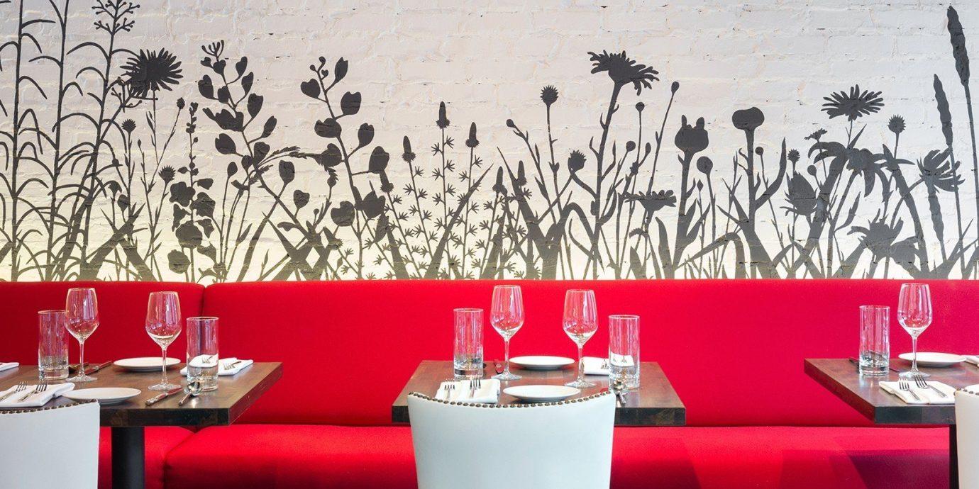 Food + Drink red wall restaurant Design interior design modern art table