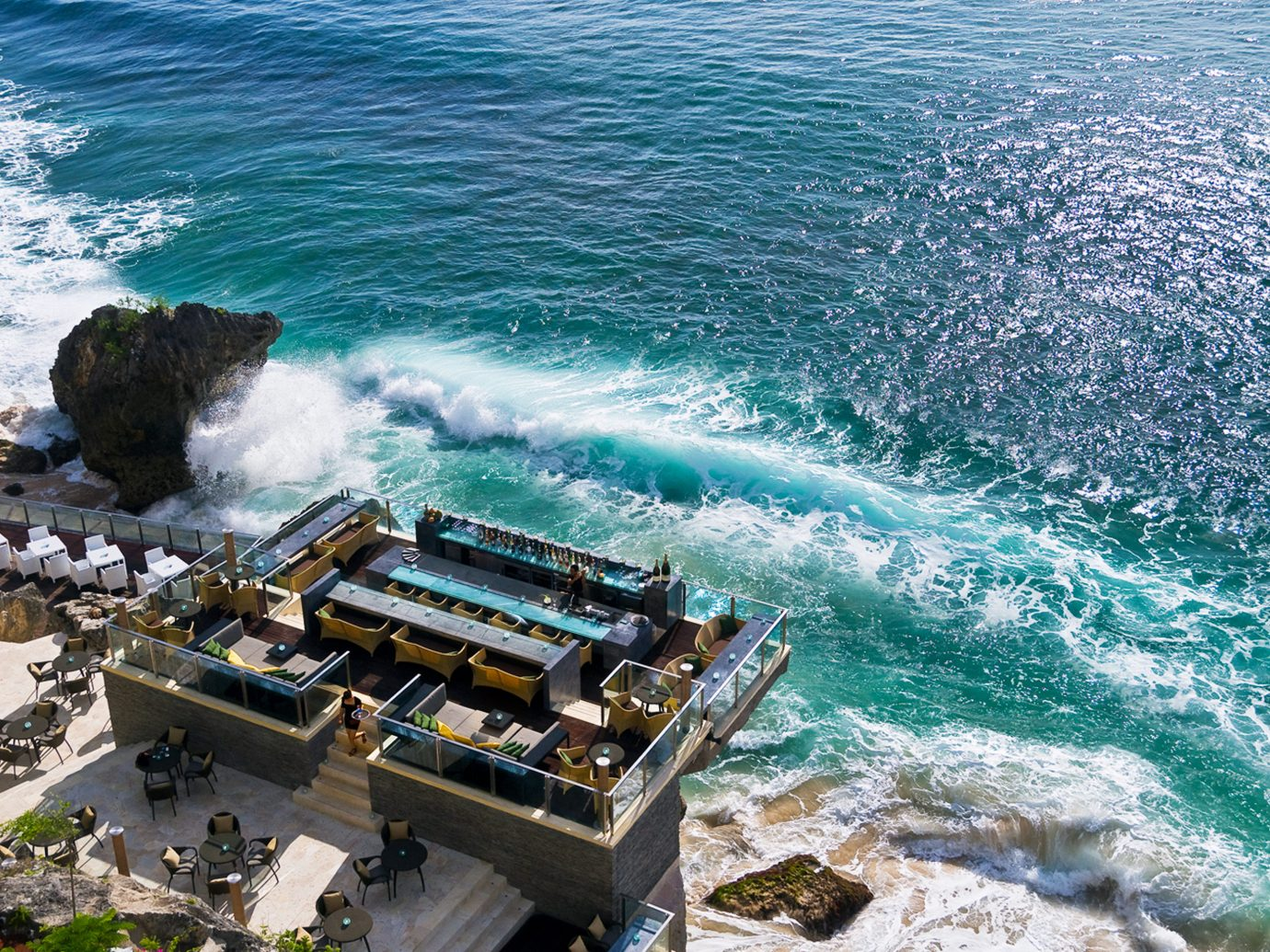 Beach Beachfront Boat Elegant Food + Drink Hotels Lounge Luxury Ocean Trip Ideas water outdoor Sea Coast shore wind wave wave vacation cape vehicle terrain caribbean