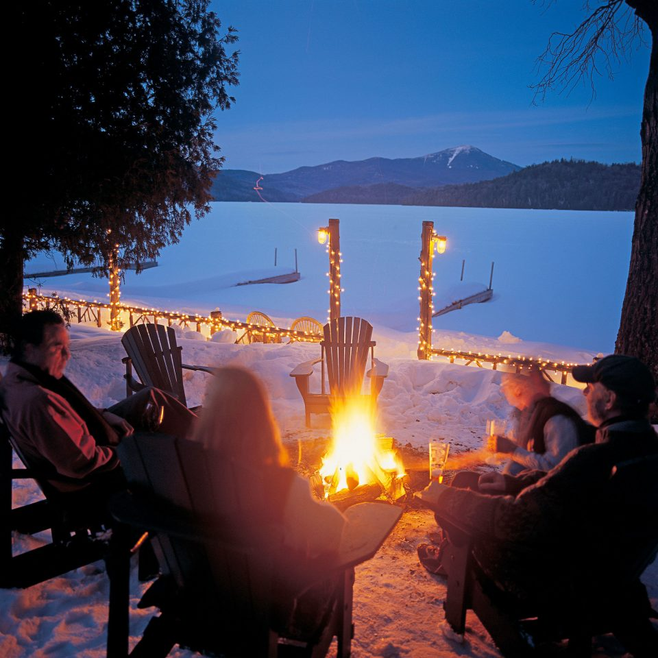 alpine skiing East Coast USA Firepit Hotels Lake Lodge Nature New York Outdoor Activities Romantic Hotels Rustic Trip Ideas Waterfront sky light evening candle morning lit Sunset bonfire