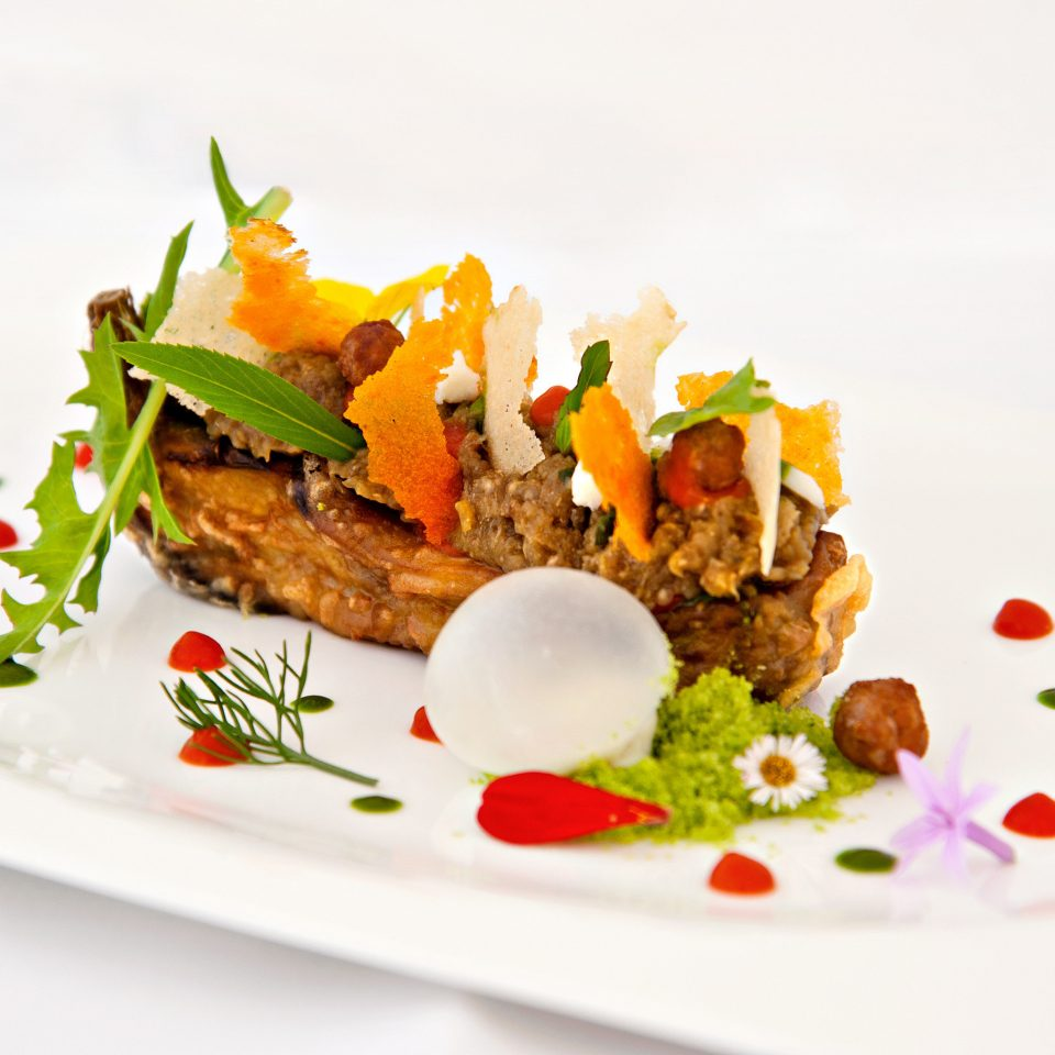 Eat plate food cuisine meat vegetable arranged colored