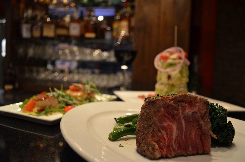 Eat plate food restaurant kobe beef meat dinner cuisine sense supper close piece de resistance