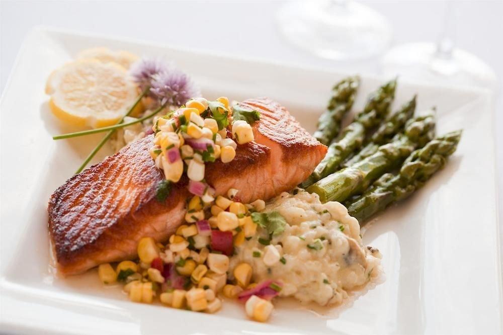 Eat food plate fish meat cuisine vegetable square piece de resistance