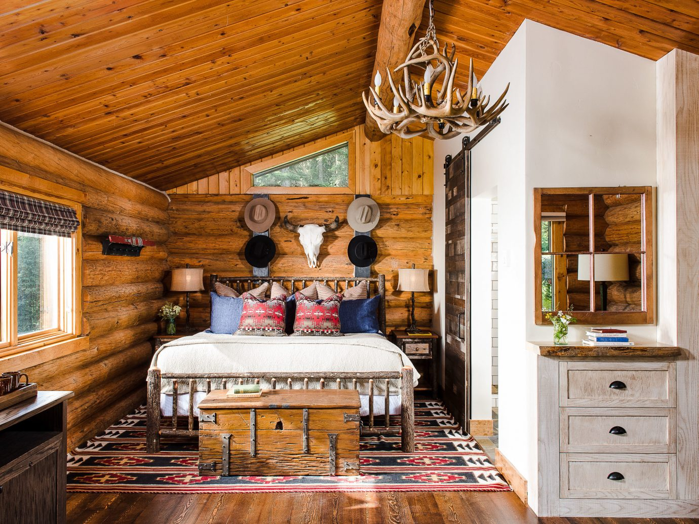 Glamping Hotels Montana Outdoors + Adventure Trip Ideas room ceiling interior design living room home wood estate real estate furniture hardwood beam floor house flooring interior designer