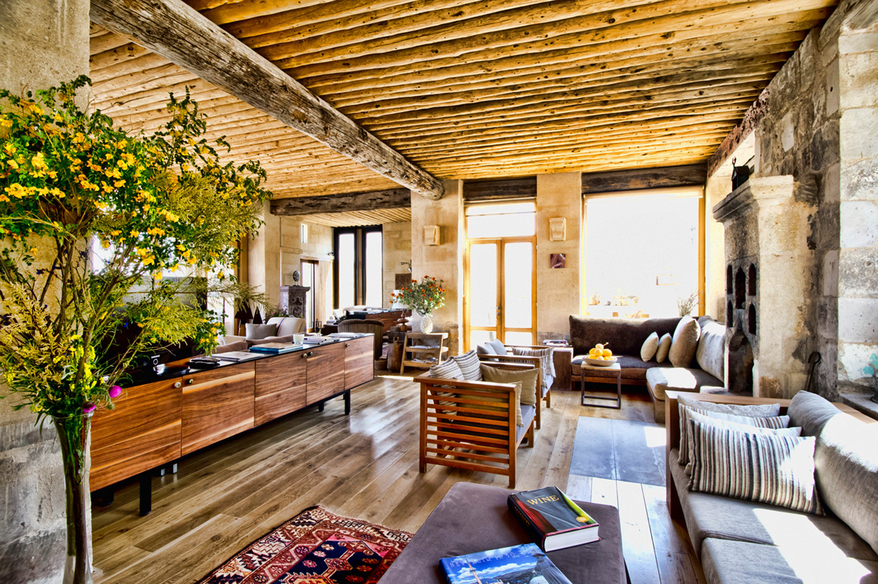 Eco Entertainment Lounge Luxury Resort Rustic sofa property house home log cabin cottage farmhouse porch Villa backyard living room outdoor structure stone