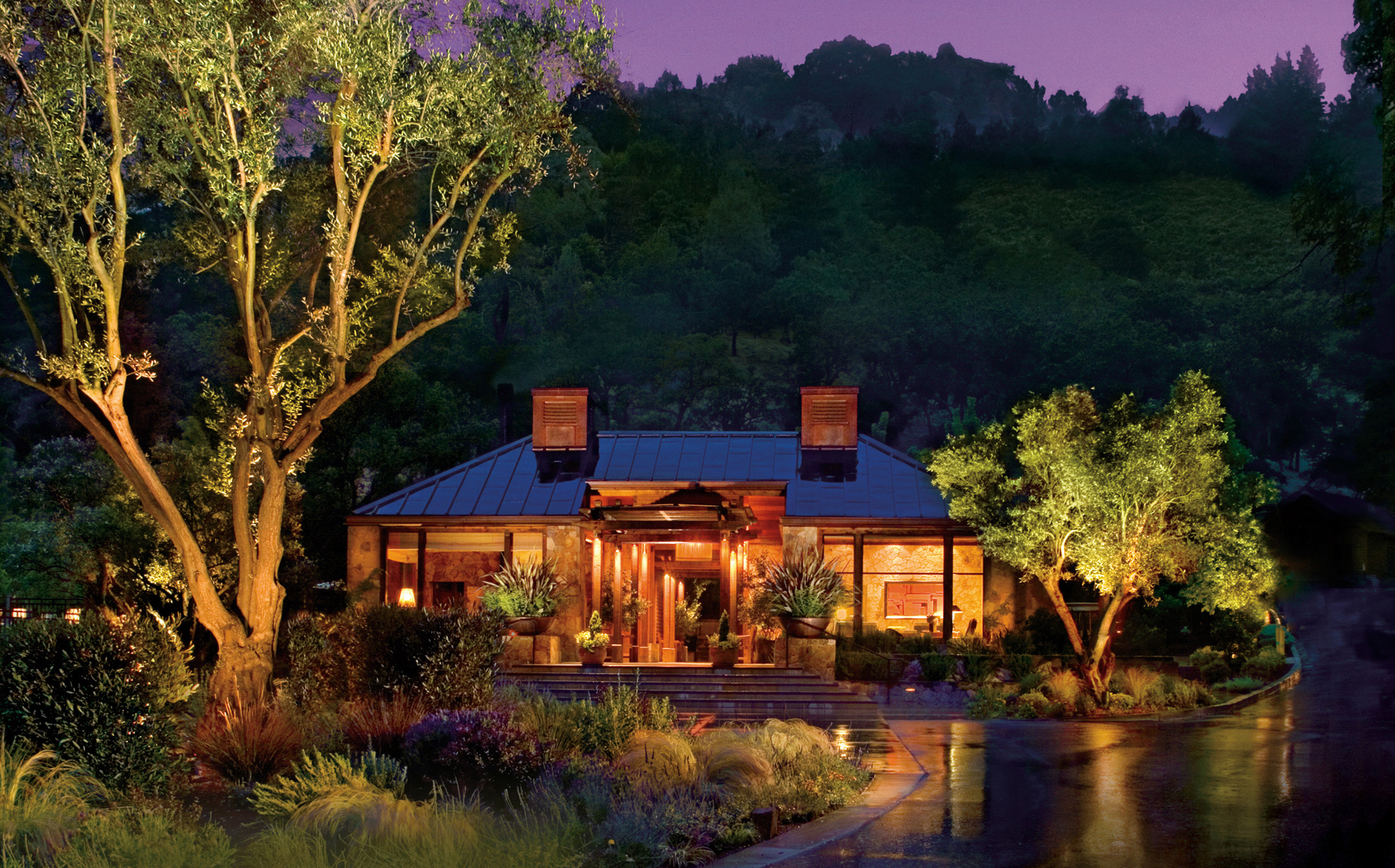 Eco Exterior Grounds Luxury Outdoors Ranch Romance Romantic Rustic Scenic views Wellness tree house home landscape lighting evening landscape mansion Resort backyard cottage plant Forest surrounded lush bushes hillside