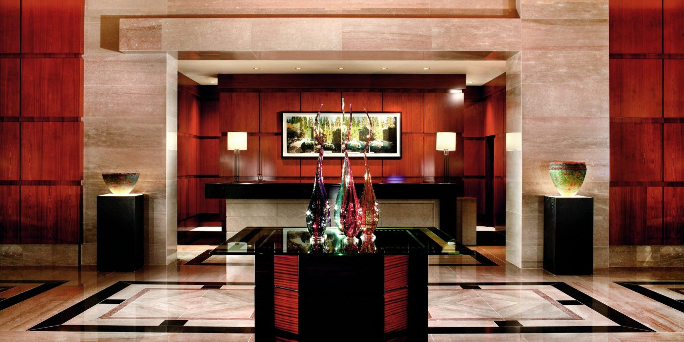 Eco Lobby Modern living room hardwood Fireplace stage home lighting recreation room auditorium theatre