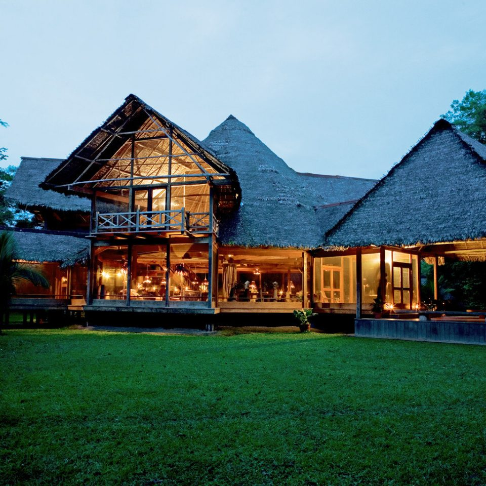 Eco Forest Jungle Lodge Rustic grass sky tree house building home log cabin Resort old rural area cottage hut