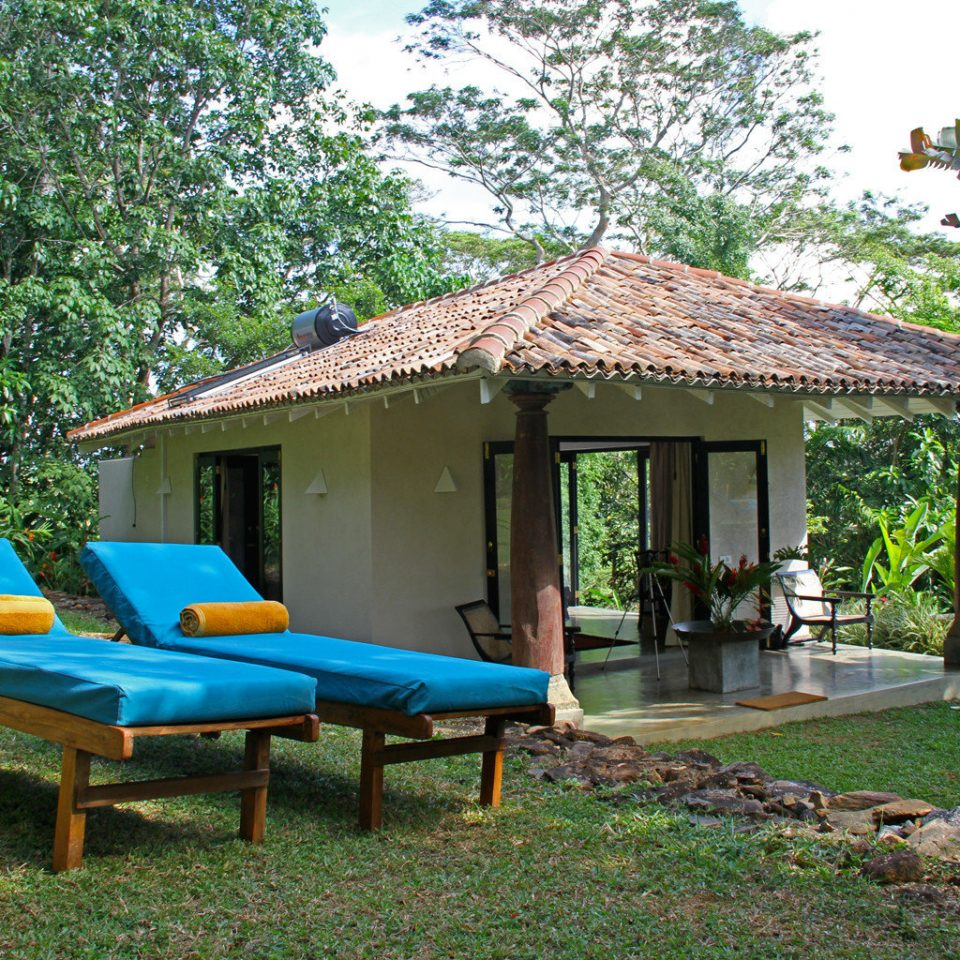 Eco Outdoors Rustic tree grass chair property lawn house Resort blue Picnic cottage home backyard hut Villa shade