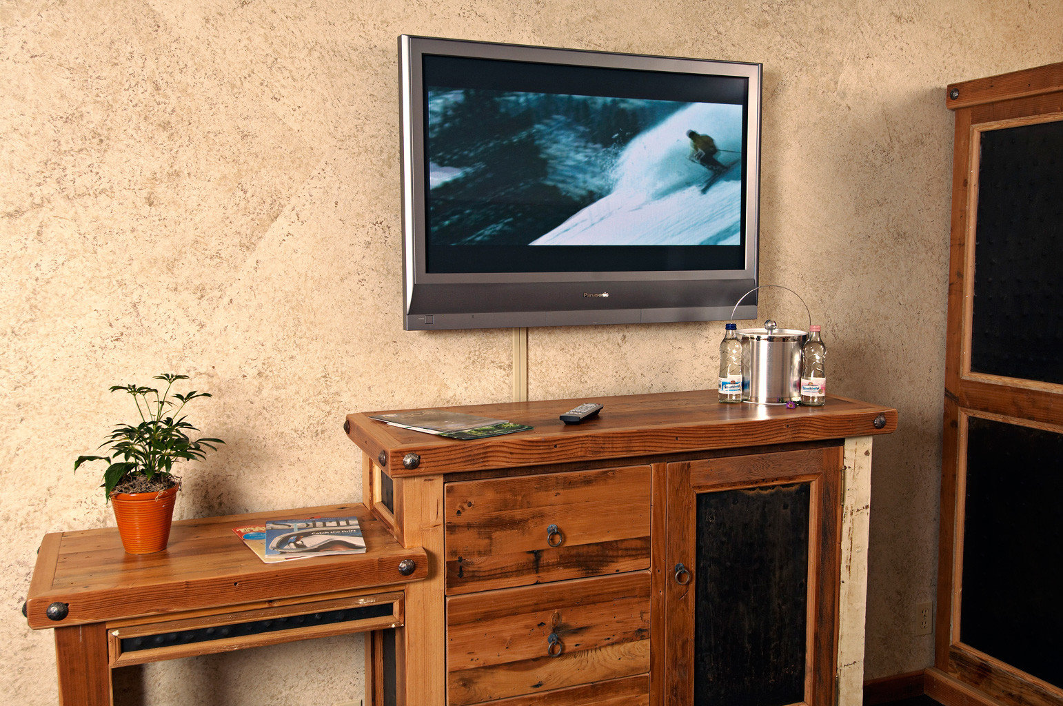 Eco Rustic television desk cabinetry home living room