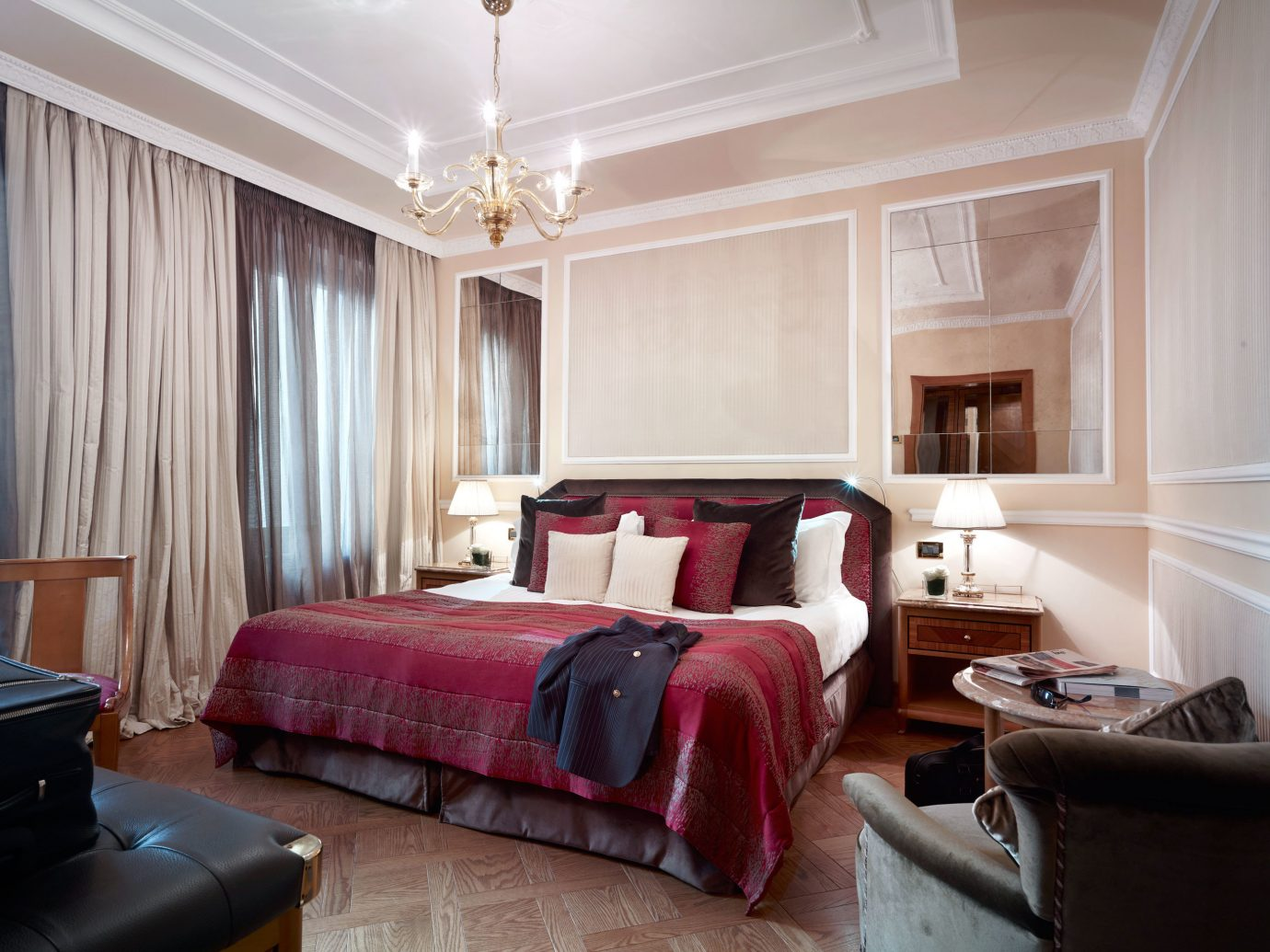 Bedroom Boutique City Classic Elegant Hotels indoor floor room property red Suite living room interior design estate home real estate cottage apartment furniture