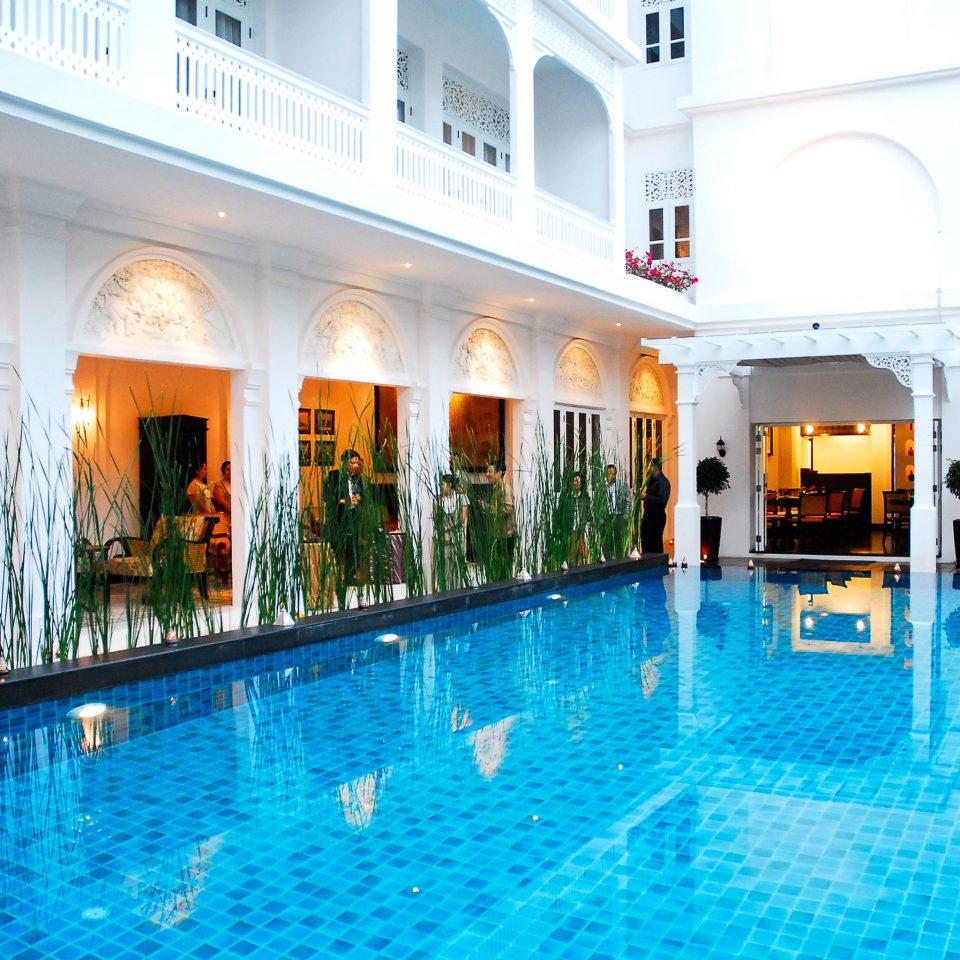 Elegant Exterior Jungle Patio Pool Terrace water swimming pool property leisure Resort building leisure centre condominium Villa resort town mansion blue