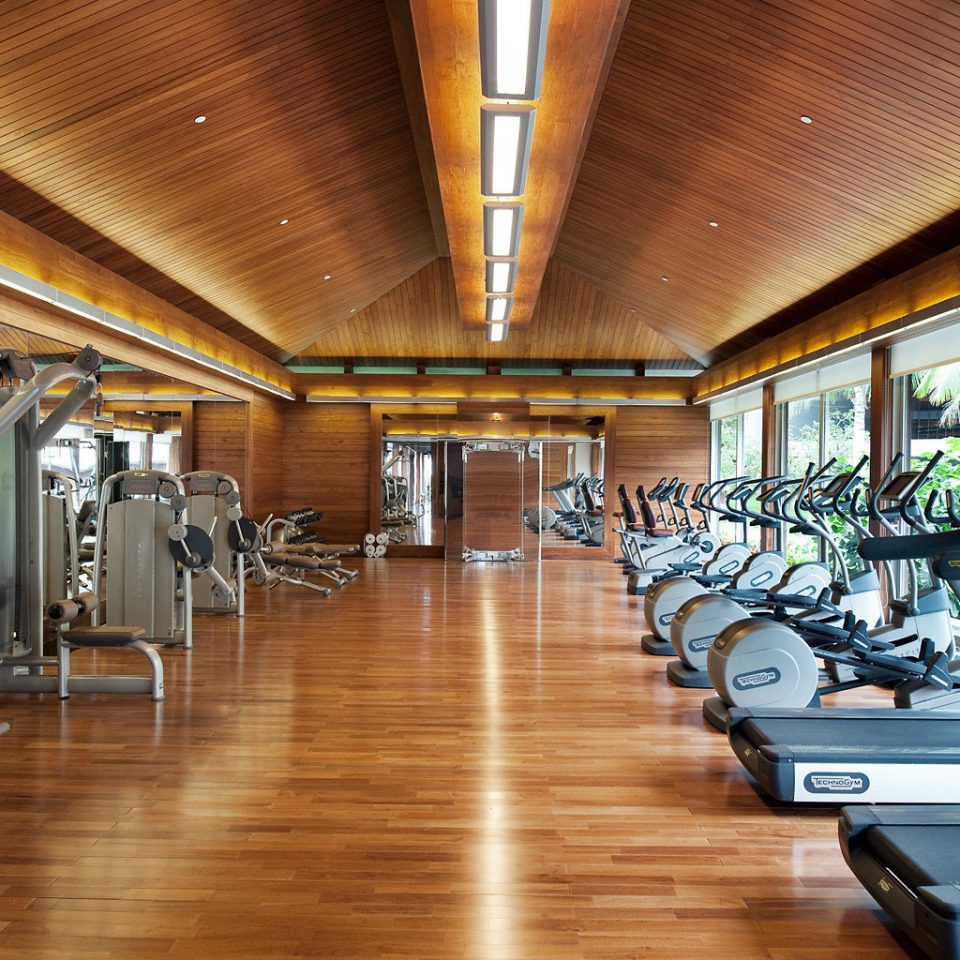 Elegant Family Fitness Honeymoon Luxury Modern Romance Waterfront Wellness structure gym sport venue wooden hard