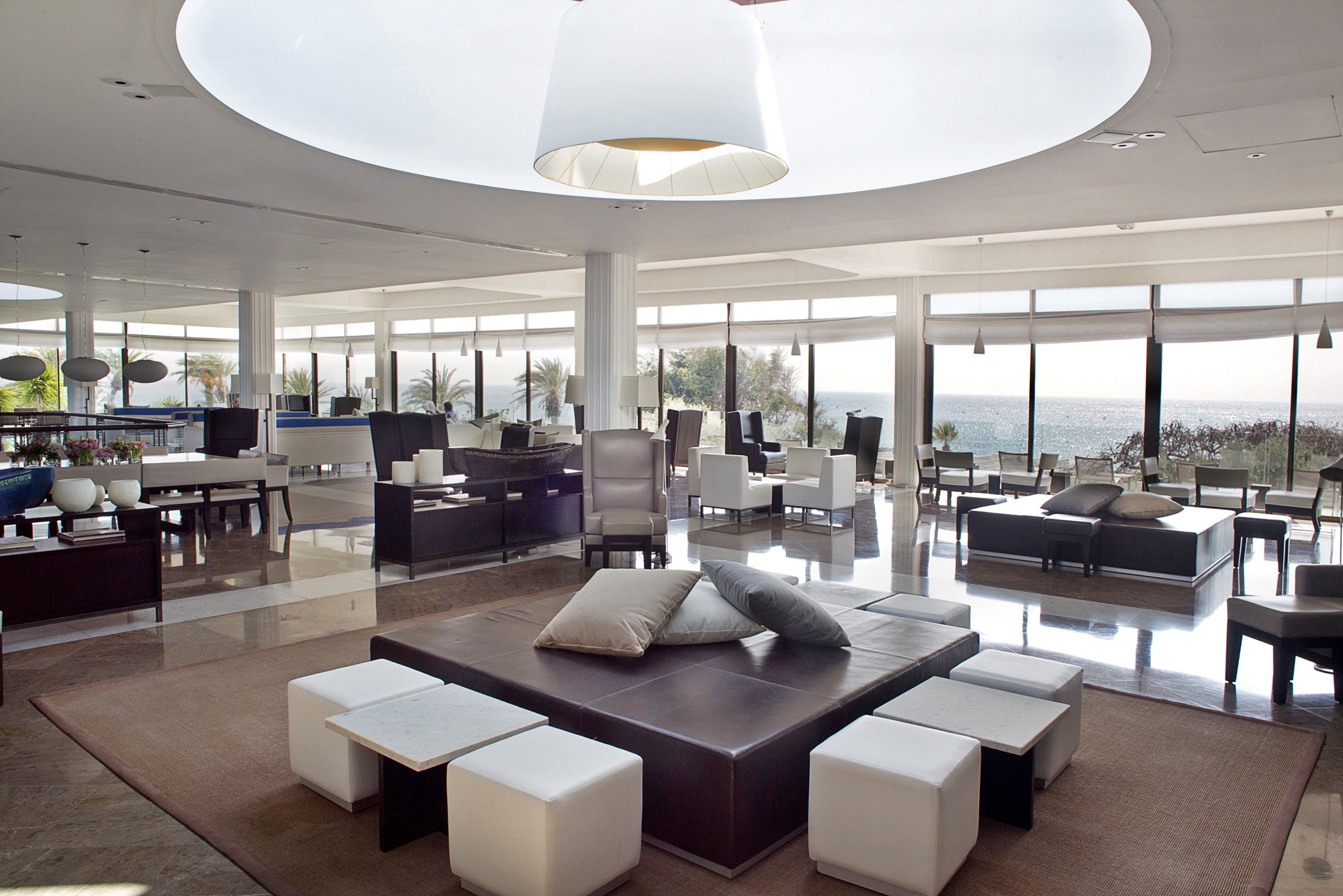 Elegant Family Island Lobby Lounge Modern Scenic views Waterfront property yacht living room lighting condominium restaurant Resort headquarters convention center