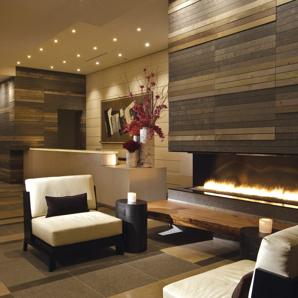 Elegant Fireplace Hotels Lounge Modern Lobby living room lighting home