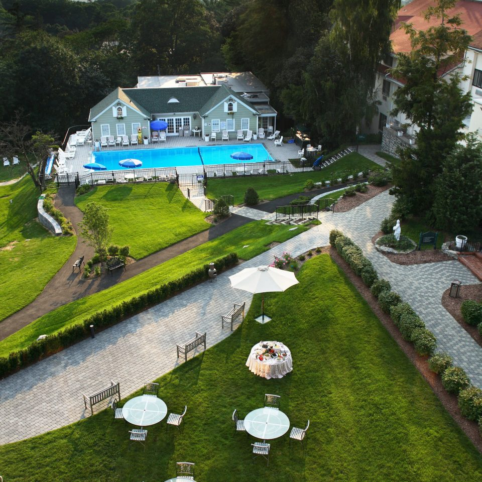 Elegant Grounds Historic Pool tree grass sky aerial photography Garden waterway Resort park pond flower lush