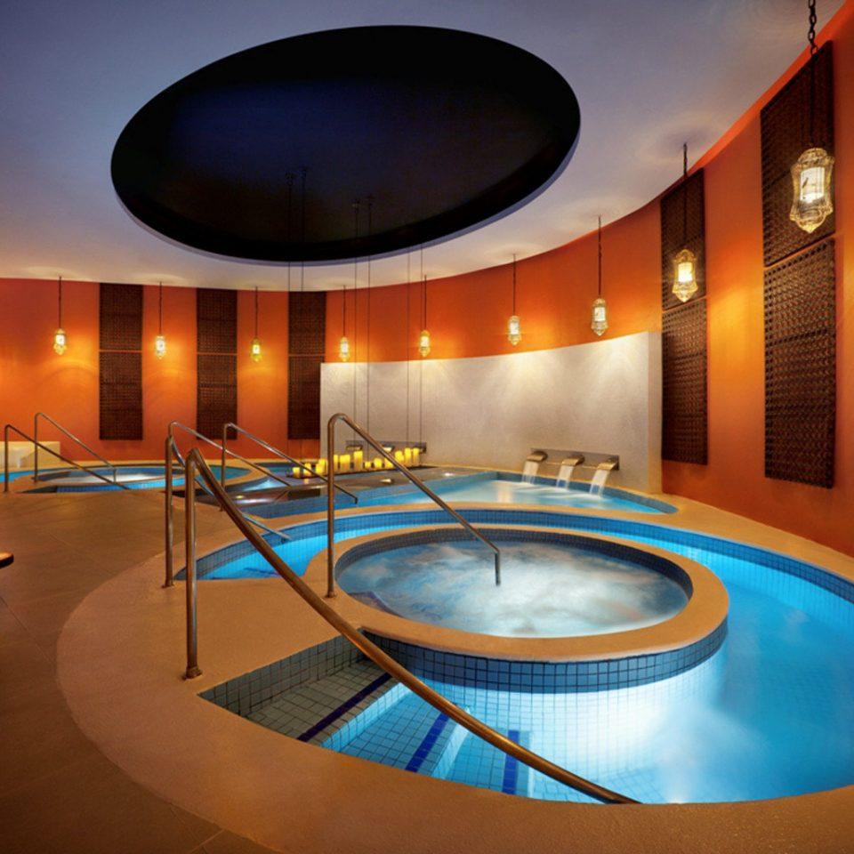 Elegant Hip Luxury Modern Pool swimming pool billiard room jacuzzi Resort light recreation room blue bright