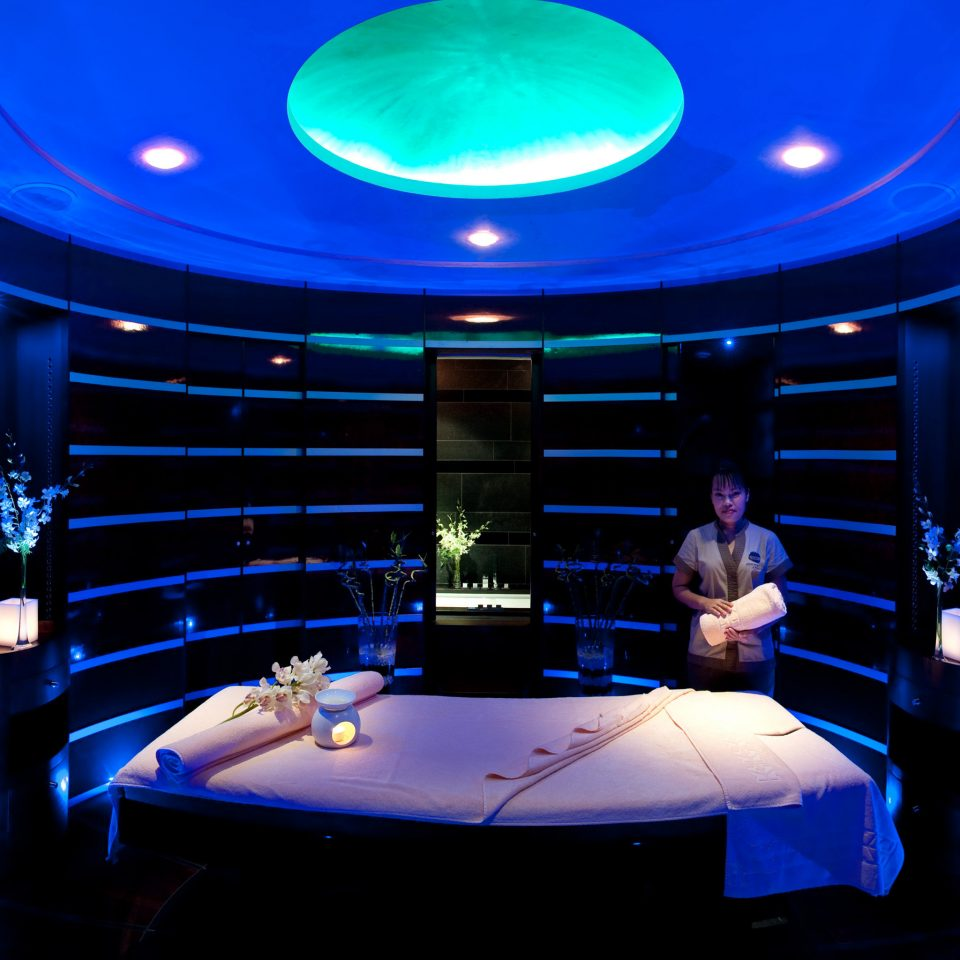 Elegant Hip Luxury Modern Spa stage auditorium theatre blue nightclub screenshot music venue scenographer light