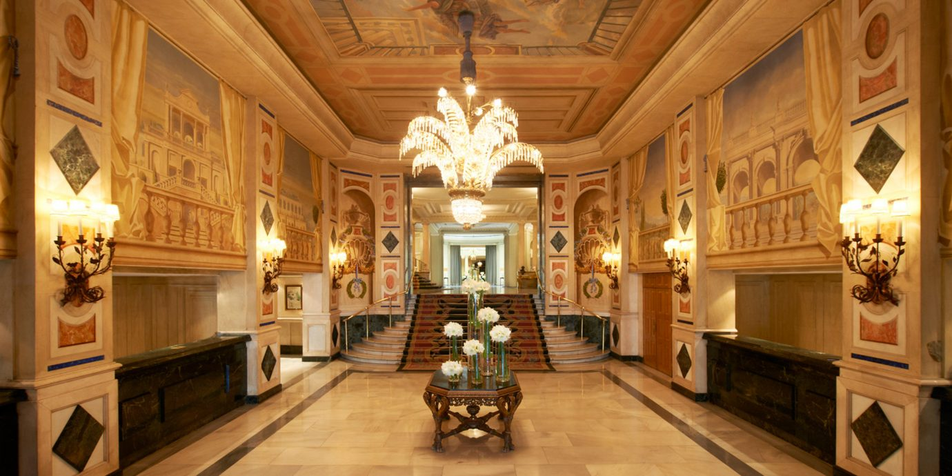 Elegant Historic Hotels Lobby Lounge Madrid Spain building palace mansion ancient history tourist attraction chapel place of worship hall fancy
